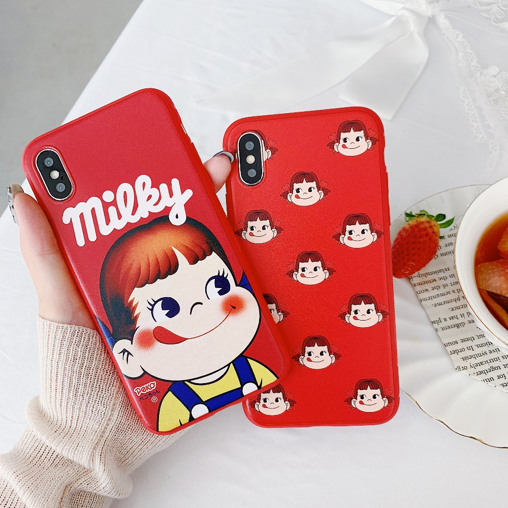 Cute Cartoon PEKO chan Matte Soft Case For iPhone X 6 6S 7 8 Plus Case For XS XR XS MAX Case in Fitted Cases from Cellphones Telecommunications