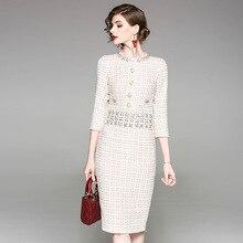 2020 New Luxury Runway Autumn Winter Tweed Dress Women