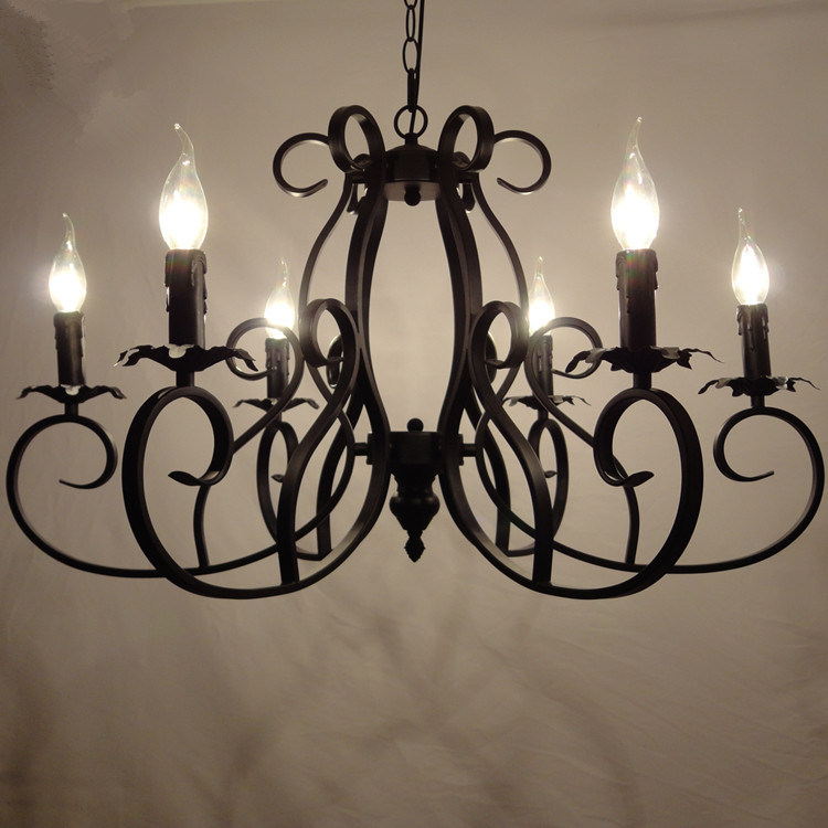 Classic European Fixture Wrought Iron Chandeliers 6 heads Pandant Lamp Ceiling E14 led bulbs 90-260V ...