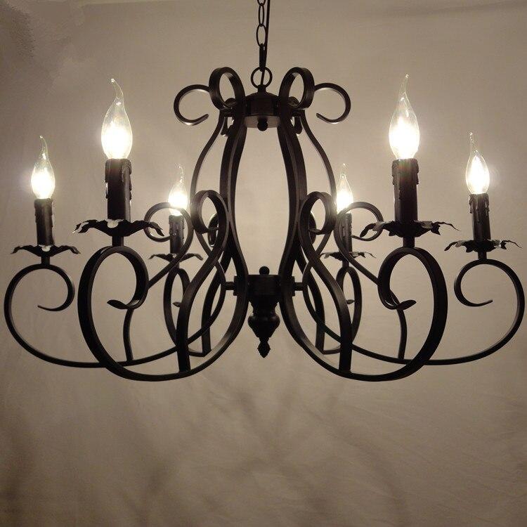 Classique luminaire européen lustres en fer forgé 6 têtes lampe Pandant plafond E14 ampoule LED 90-260 V