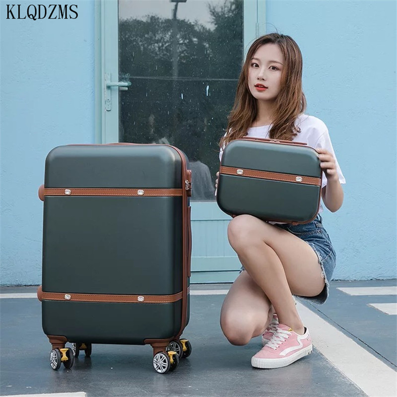 KLQDZMS 2PCS/SET 14inch Cosmetic bag 20/22/24/26 inch students  rolling luggage spinner  trolley case travel suitcase on wheels