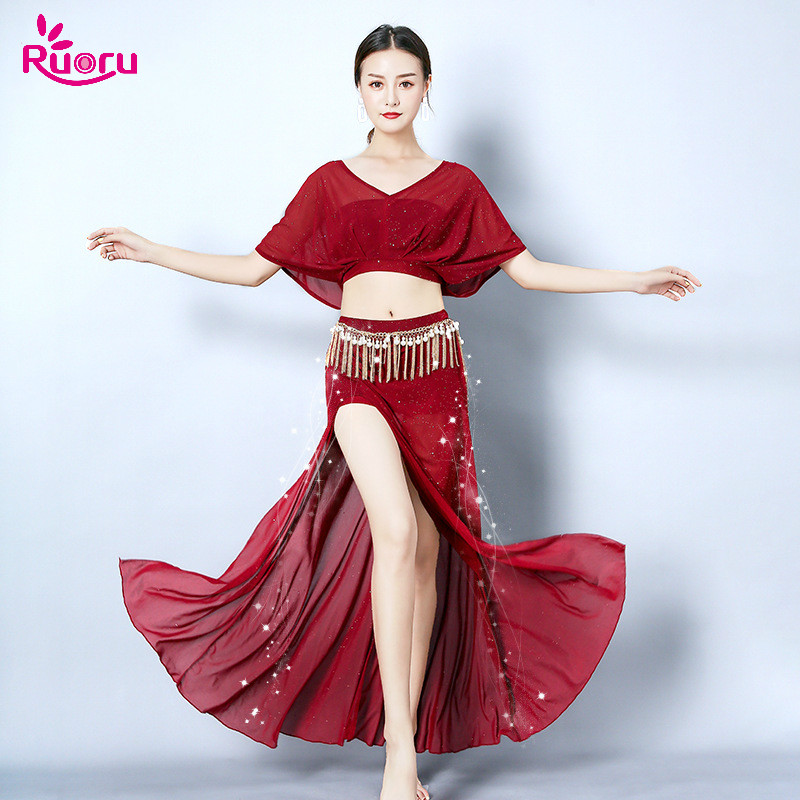 Ruoru Bellydance Costume Dress Skirt New Pink Red Black Tops 2piece