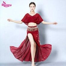 Ruoru New 2 Piece Belly Dance Set Practice Wear Bellydance Costume Skirt Tops Dress Red Black Pink