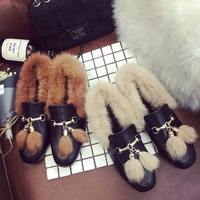 New Winter Women Hot Metal Decoration Fur Flat Ankle Boots Female Fashion Comfort Warm Plush Chuzzle