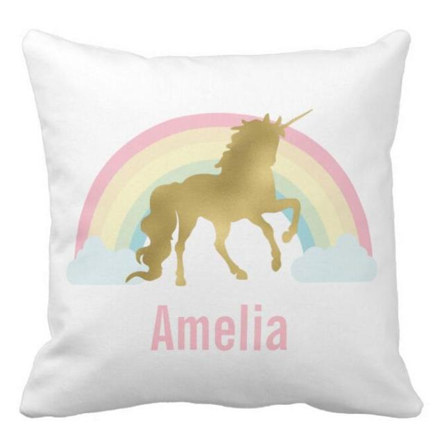 Custom Whimsical Gold Unicorn Cushion Cover Personalised Unicorn Beauteous Personalised Pillow Covers