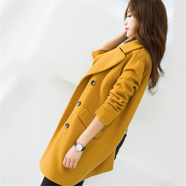 bef0dc21045 S-2XL 2016 New Korea Turn-down Collar Double Breasted Blended Woolen Jacket  Women