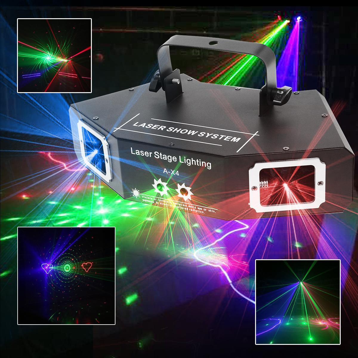 4 Len Voice Control DMX RGB Pattern LED Stage Lighting Effect Laser Beam Lamp For DJ Disco KTV Bar Indoor Decor Lighting rg mini 3 lens 24 patterns led laser projector stage lighting effect 3w blue for dj disco party club laser