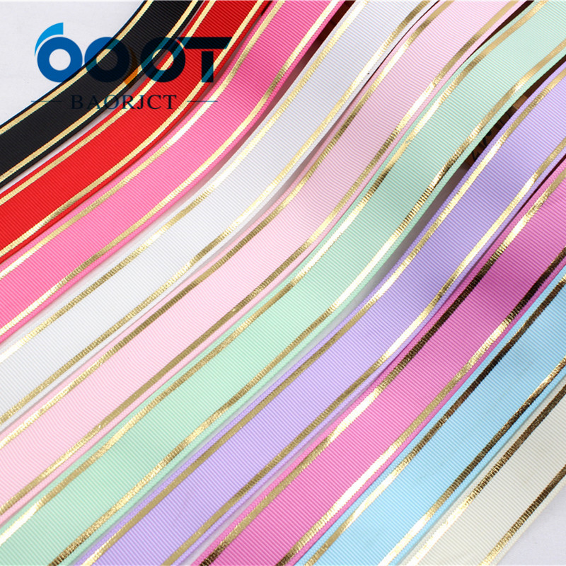 16130231 ,  22MM 10 color mix stripe hot gold Printed grosgrain ribbon, DIY handmadeHair accessories Material wedding