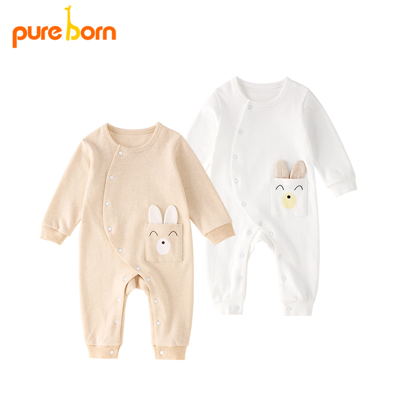 Pureborn Baby Boy Girl Clothes Baby   Rompers   Long Sleeve Cotton Sleepwear Newborns Toddlers Infant Baby Clothing
