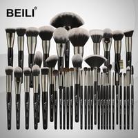 BEILI Black Professional 40PCS Makeup Brushes Set Soft Natural bristles powder Blending Eyebrow Fan Concealer Foundation