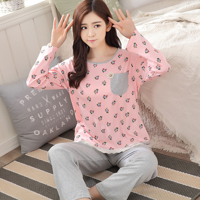 New Design 2016 Pajamas Sets Autumn Winter Pyjamas Sleepwear Pajamas mujer Homewear Lady pyjamas suits pijamas Free Shipping
