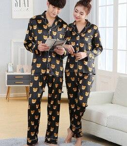 Image 2 - Nieuwe Mode Mannen Pyjama Sets Lente Herfst Pyjama Set Nachtkleding Lange Mouwen Cartoon Liefhebbers Homewear Koppels Zijn En Haar Kleding