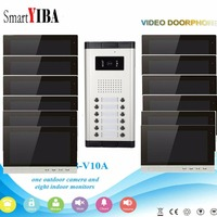 SmartYIBA Home Video Door Phone For 12 Apartments Door intercom 10 Color Indoor Monitor Video cameras 12 Door Bell Buttons Kit
