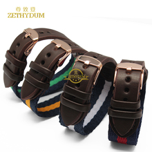 Nylon watch strap with genuine leather watchband 18mm wristwatches band Stripe color watch accessories bracelet
