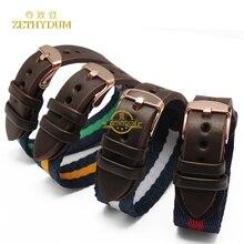 Correa de reloj de Nylon con correa de piel genuina 18mm accesorios reloj pulsera relojes de pulsera de banda de color de La Raya