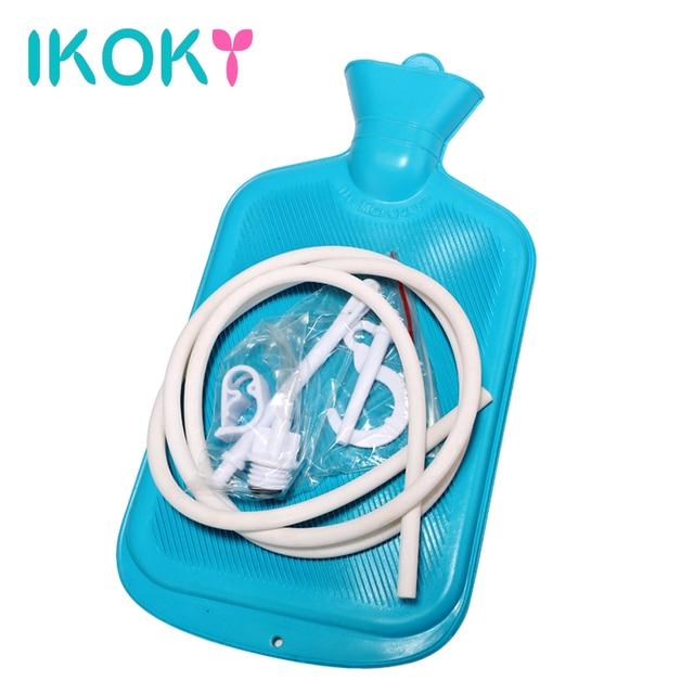 IKOKY Intestinal Anal Cleaner Shower Enemator Water Bag Anal Sex Toys for Couples Gay Large Porous Enema Vaginal Washing