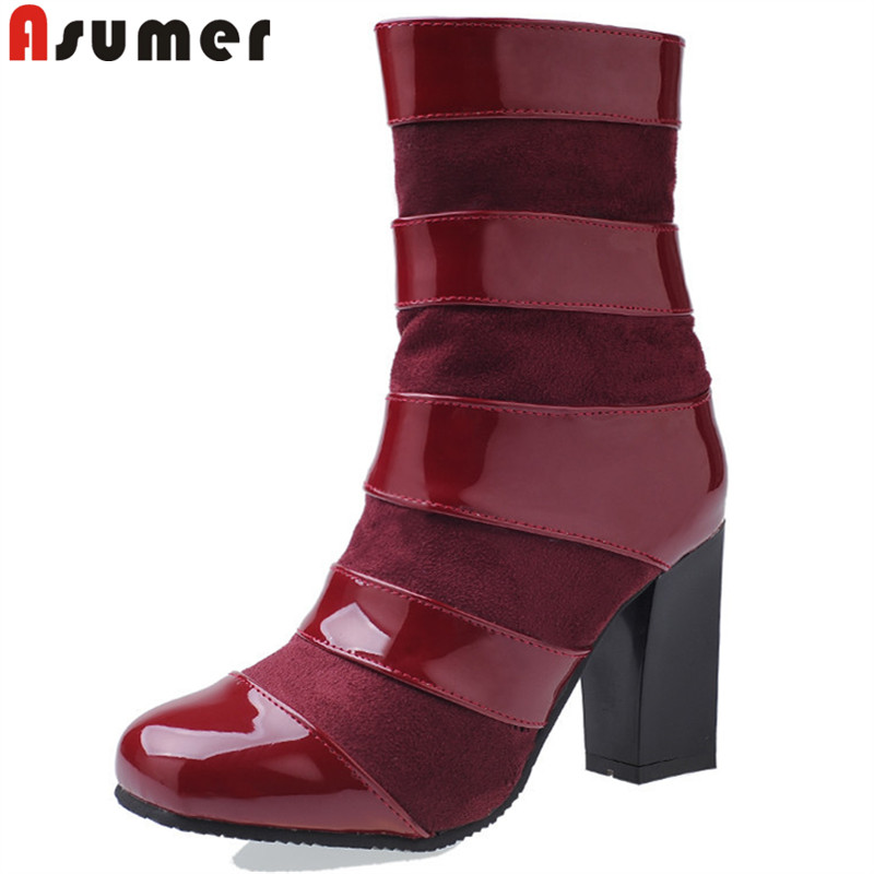 ASUMER plus size 34-47 fashion autumn winter boots women round toe ankle boots pu+flock thick high heels boots ladies shoes asumer fashion women boots pointed toe zipper flock autumn winter ladies boots black beige gray ankle boots big size 34 44
