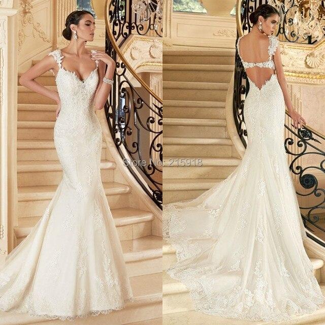 Sexy Meerjungfrau Backless Hochzeitskleid 2016 V Neck Spitzeapplique ...