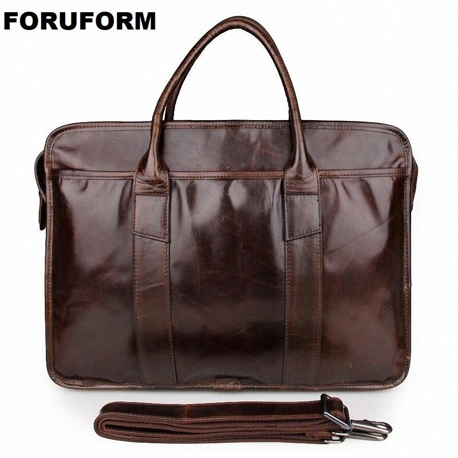 15.6 Inch Laptop Bag Genuine Leather Men Briefcases Men Handbag Business Bags Man Vintage Shoulder Messenger Bag LI-1264