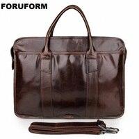 15inch Leather Laptop Bag Genuine Leather Men Briefcases Men Handbag Business Bags Man Vintage Shoulder Messenger Bag LI 1264