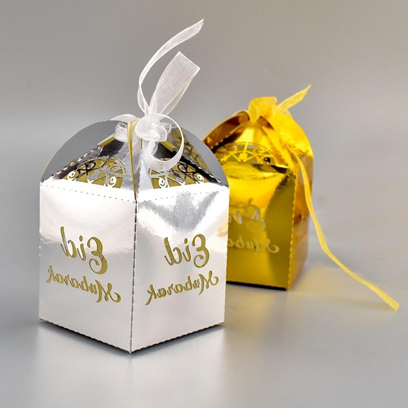 Happy Eid Mubarak Paper Gift Box Ramadan Decorations Islamic-Party Decal Deco