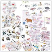 45pcs/box Cute Hamster baby Cat rabbit Label Stickers Mini Diary Adhesive Scrapbooking Decorative DIY