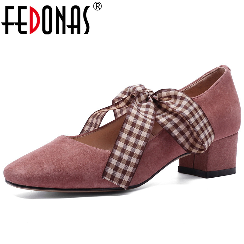Здесь можно купить  FEDONAS New Arrival Women Suede Leather High Heels Party Wedding Shoes Woman Butterfly-knot Prom Pumps Spring Summer Shoes   Обувь