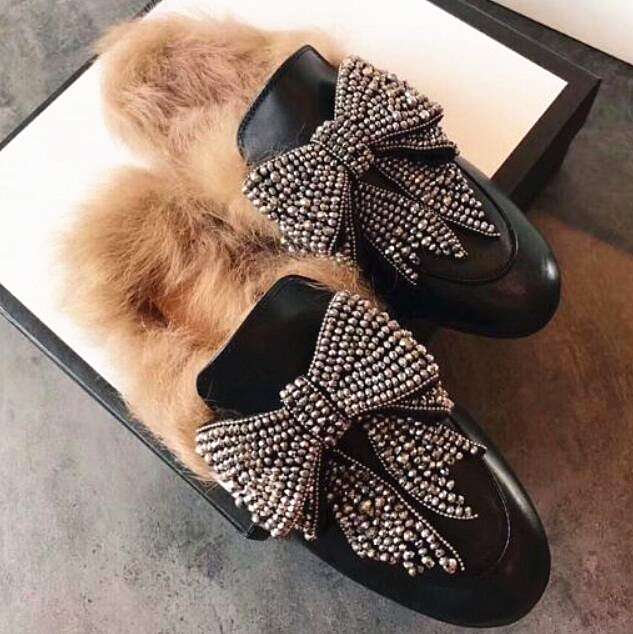2019 Fashion Bling Women Winter Slippers Crystal Fur Mules Women Casual Shoes  Flats Bow Tie Crystal Flats Shoes Woman 34aeb1c74bb1