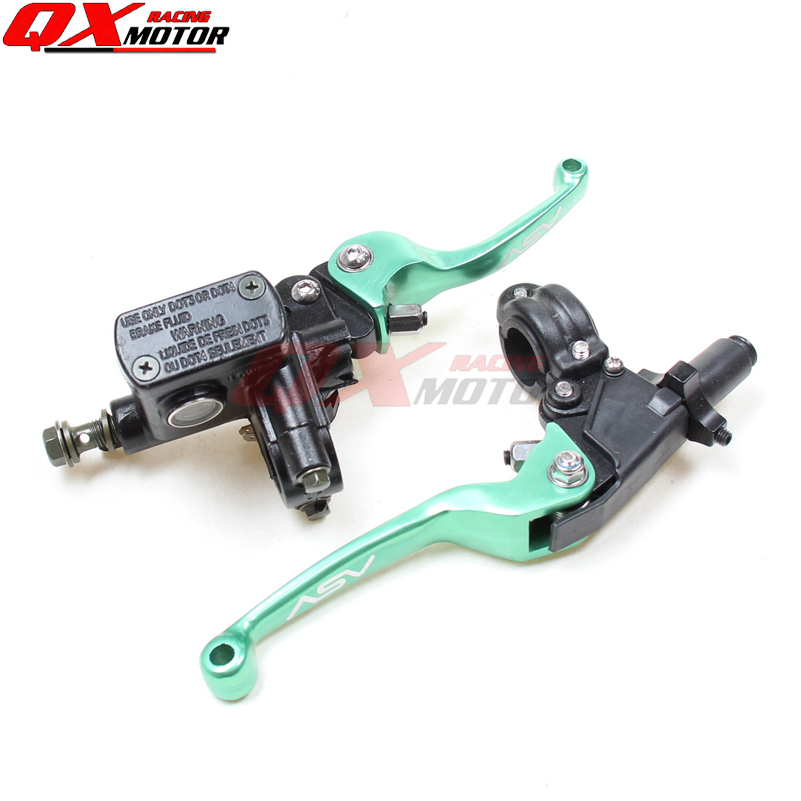 GREEN CNC folding brake lever ASV clutch Lever with front pump Fit Most Motorcycle Dirt Pit Bike Motorcross CRF KLX YZF RMZ asv clutch and brake folding aluminum lever for dirt bike pit bike spare parts