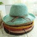 Ocasional del verano mujeres playa sombrero de paja para mujer de ala ancha Bucket Sunbonnet Caps envío gratis SCCDS-016