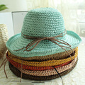 Summer Casual Women Straw Beach Hat Female Girl's Wide Brim Bucket Sunbonnet Caps Free Shipping SCCDS-016