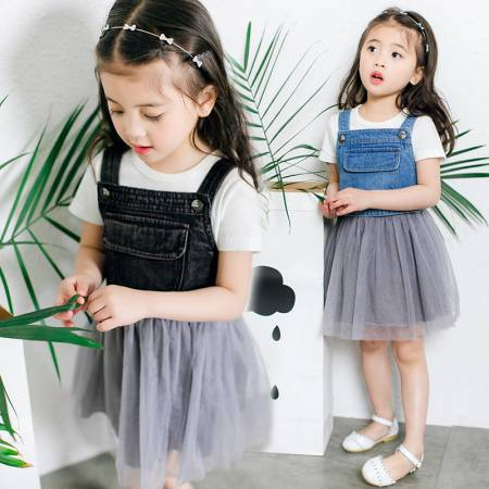 summer dress new baby girls dress newborn girls tutu dress denim baby clothes mesh patchwork wedding dress party jacket for girl