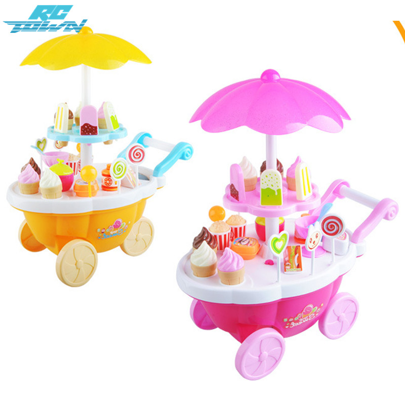 RCtown 39pcs Kids Pretend Play Toy Set, Mini Simulated Candy Wheelbarrow Ice Cream Store, Play House Toys zk30