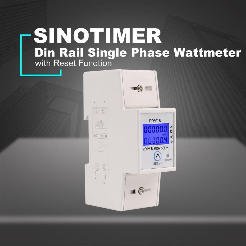 230 v Guida Din Monofase Wattmetro Consumo di energia Watt Contatore di Energia Elettronica AC con Funzione di Reset DDS015