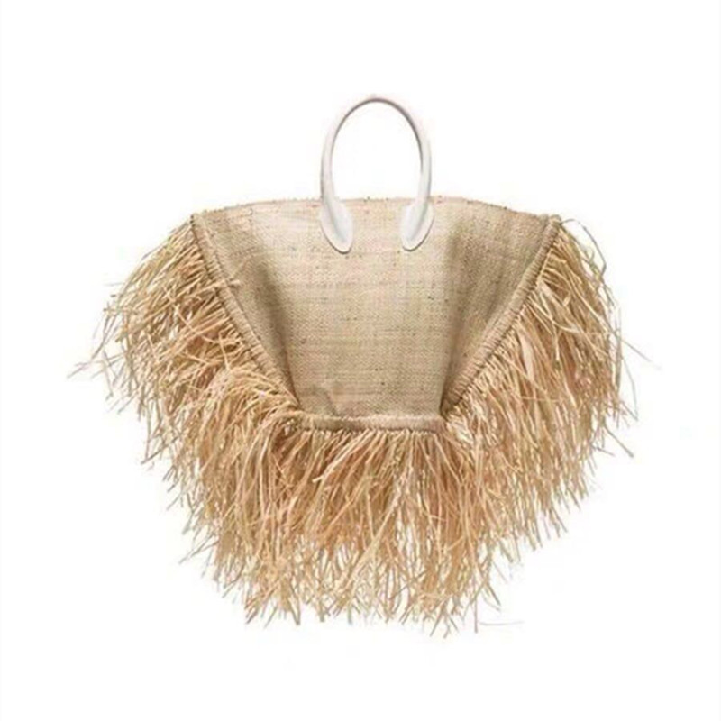 2019 Fashion New tassel Handbag High quality Straw bag Women beach woven bag Tote fringed beach woven Shoulder Travel bag-in Shoulder Bags from Luggage & Bags    1