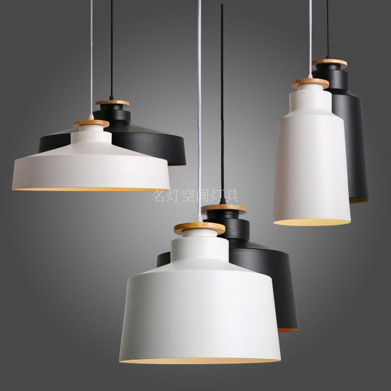 купить Nordic fashion personality single head Pendant Lights living room restaurant simple black and white creative lamp FG958 LU1011 онлайн
