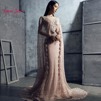 TaooZor Vintage Sparkly Scoop Beaded Pearls Mermaid Evening Dresses Real Picture Lace Floor Length Party Gown