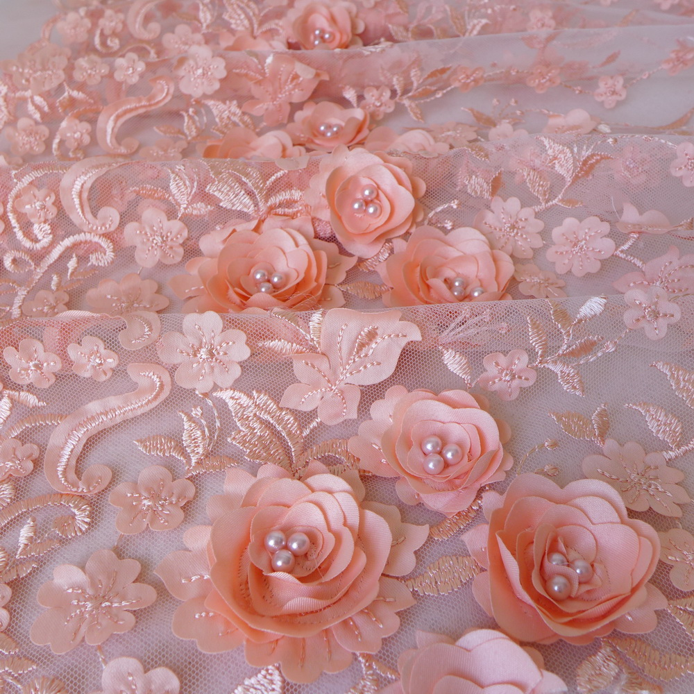 Peach/Ivory/Mauve Luxury Tissu 3D Flower Embroidered Tulle Mesh Lace Fabric With Pearl Beaded Wedding Curtains FabricPeach/Ivory/Mauve Luxury Tissu 3D Flower Embroidered Tulle Mesh Lace Fabric With Pearl Beaded Wedding Curtains Fabric