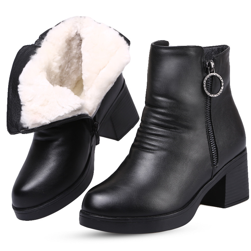 Wolle Schnee Zxryxgs Einem Neue Marke 2018 Winter High Rindsleder Dick Mit Heels Stiefeletten Pelz Schuhe Schwarzes Stiefel Frauen OqwOHfrI