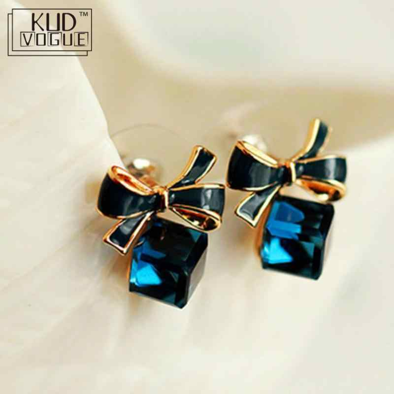 High Quality Fashion 2019 Chic Shimmer Bow Knot Cubic Green Blue Crystal Earrings Rhinestone Stud Earrings For Women 8446