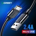 Ugreen Cable Micro USB 2.4A de carga rápida Cable de datos USB Cable de teléfono móvil Cable de carga para Samsung Huawei HTC Tablet Android cable