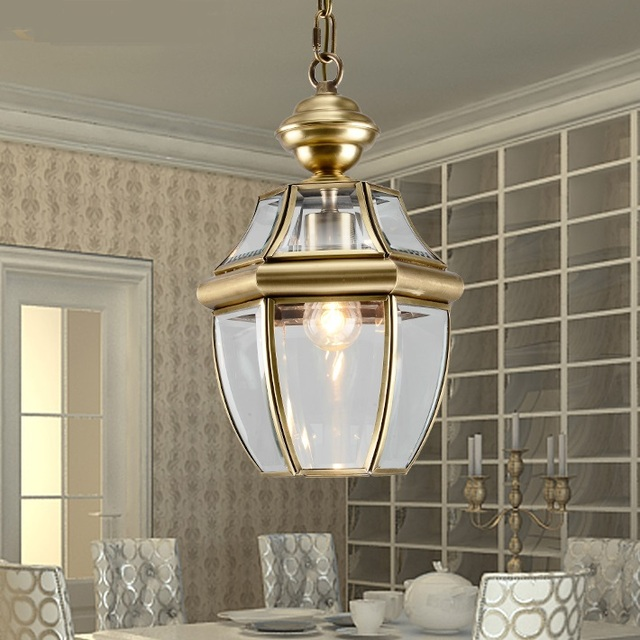 European Style Copper Pendant Lights Corridor Balcony Pendant Light Big  Droplight Decorates Single Head Pendant Lamps