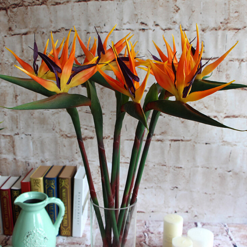 Artificial Bird Of Paradise Orchids Bouquet Real Touch Latex Flowers ...