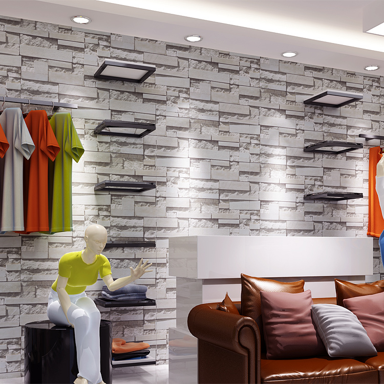 Modern vintage 3d stone wall paper 3d brick wallpapers for Wallpaper home improvement questions
