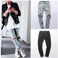 Kanye west representam Mesmo destruído calças jeans rasgados homens designer de estrela do rock moda jovem magro angustiado calça jeans masculino