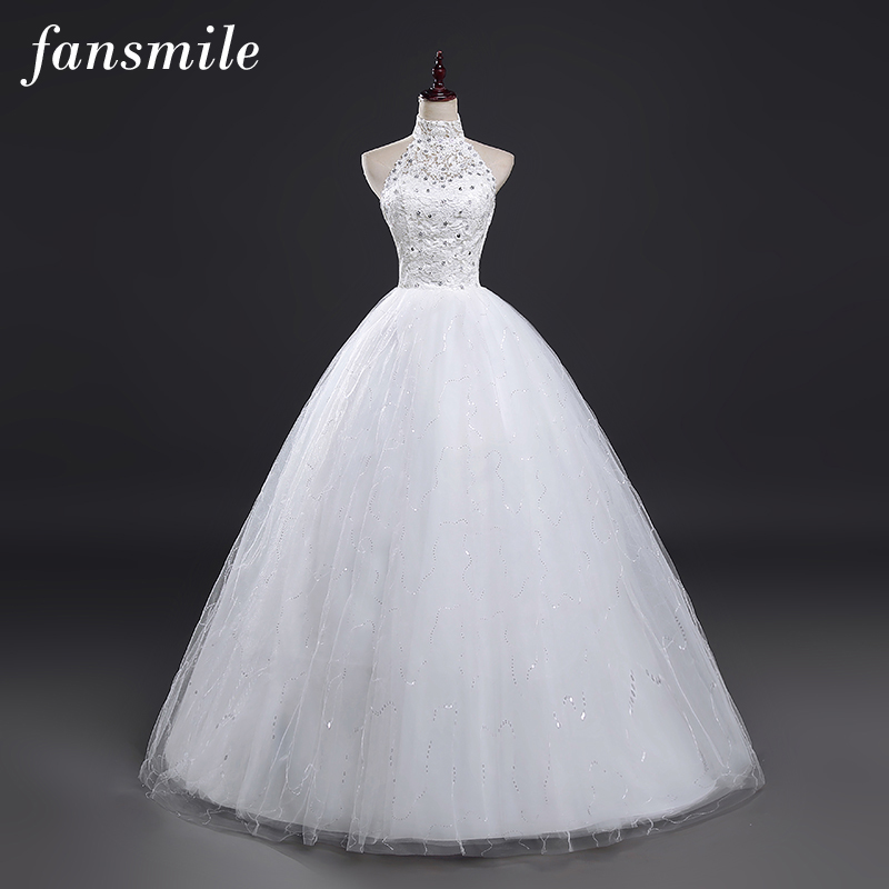 Fansmile 2017 Cheap Halter Lace Wedding Dress Vintage