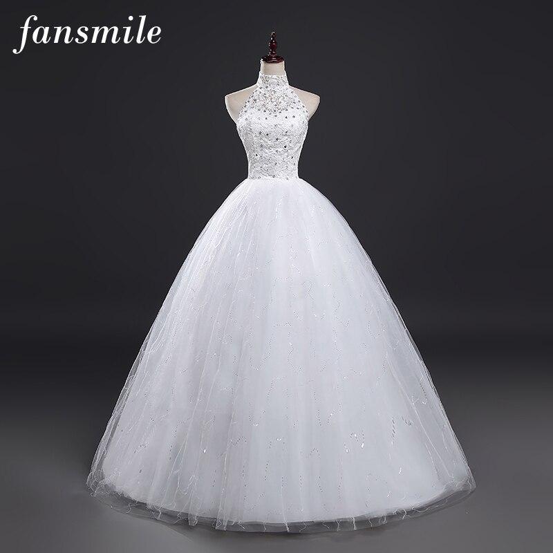 fansmile 2017 cheap halter lace wedding dresses vintage vestidos de novia plus size bride dress under