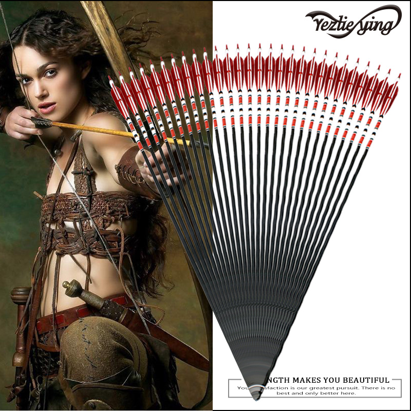 12PCS 31-Inch Carbon Arrows Red Black Turkish True Feather Target Shooting Carbon Arrow for Compound Bow Hunting Archery12PCS 31-Inch Carbon Arrows Red Black Turkish True Feather Target Shooting Carbon Arrow for Compound Bow Hunting Archery