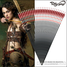 6/12PCS 31-Inch Carbon Arrows Red Black Turkish True Feather Target Shooting Carbon Arrow for Compound Bow Hunting Archery