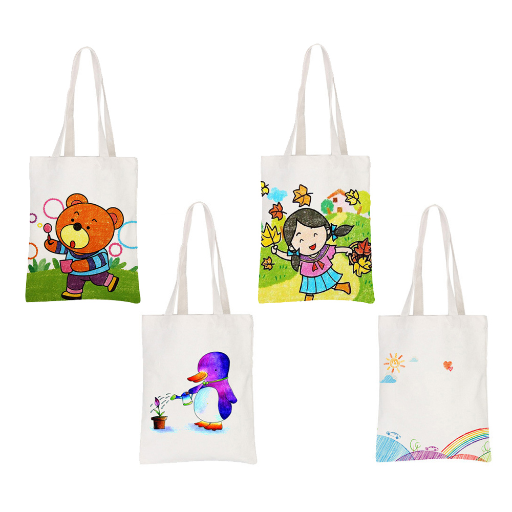 Us 4 74 50 Off Funny Canvas Bag Shopping Handbag Fabric Paint Painting Brushes Children Kids Diy Drawing Draw Set Educational Art Toys Gifts In